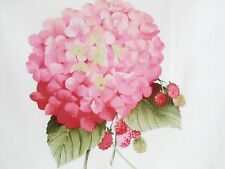 """23"""" x 44"""" Panel with 15 Flowers HYDRANGEA CORSAGE Blossoms Pink Rose LakeHouse"""