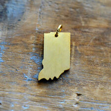 Indiana State Charm - Brushed 24k Gold Plated Stainless Steel Pendant - Minimal
