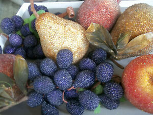 Beaded Faux Fruit Pomegranate Apple Pears Grape Vine Bunches Prop Decor