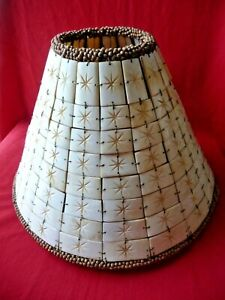 "Handmade Carved Horn Bovine Bone Tiles Lamp Shade Wood Beaded Trim 9"" Unique"