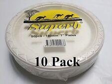 "500pcs Party Plastic Disposable White 7"" Round Plates 180mm Diameter Brand New"