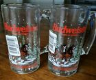 Vintage 1989 Budweiser King of Beers Clydesdales Holiday Glass Mugs Set Of Two