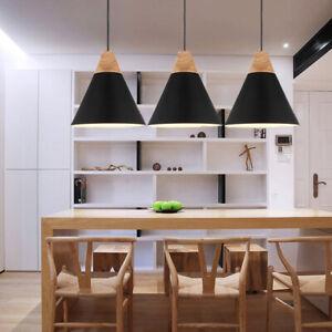 3X Black Lights Modern Pendant Light Wood Ceiling Lamp Home Chandelier Lighting