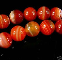 "New 6mm Natural Red Stripe Agate Onyx Gems Round Loose Beads 15"" AAA"