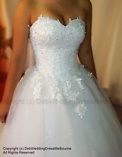 Gorgeous Australian Pure White Hand Lace Beading Deb Dress/Wedding Gown