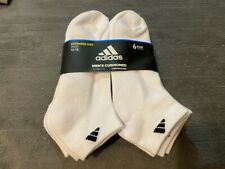 NEW MENS ADIDAS EXTENDED SIZE 12-15 WHITE 6 PACK CUSHIONED COMPRESSION SOCKS