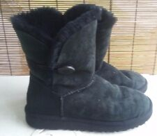 UGG Australia Womens Black Boots Bailey Button Uggs Size 8 ??read description