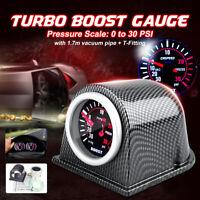 """2"""" 52mm Turbo Boost Gauge Meter Carbon Fiber Cup Holder Smoke Face"""