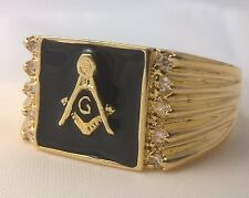 G-Filled Mens 18k gold Freemason simulated diamond black back Mason ring Masonic