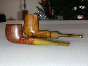 Pair Antique Briar pipes Artwork Vintage England Italian Wooden Collection