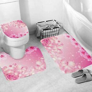 Floral Shower Curtain Set Bathroom Rug Thick Bath Mat Non-Slip Toilet Lid Cover