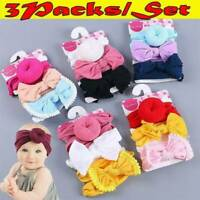 3Pc Baby Kids Bow Knot Elastic Headband Turban Toddler Girls Hair Band Headwrap