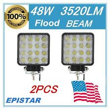 2PCS Flood 48W Square LED WORK LIGHT OFFROAD UTE 4WD Driving LAMP 12V 24V