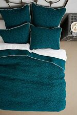 ANTHROPOLOGIE Geo Chenille QUEEN Coverlet Quilt Bedding Green Soft Blanket NEW