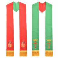 Catholic Church Cross Crown IHS Embroidery Priest Stole Clergy Reversible Stole