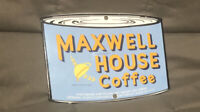 VINTAGE MAXWELL HOUSE COFFEE CAN PORCELAIN SIGN OIL LUBE GAS STATION FOOD RARE