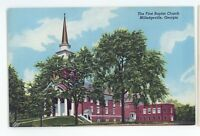First Baptist Church MILLEDGEVILLE GA Vintage Georgia Postcard