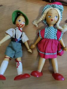 """Pair of  Wooden  Jointed  Figure/Doll  Made in  Poland hand-painted face 7"""""""