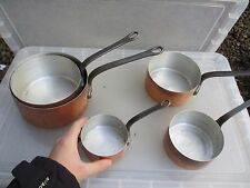 Vintage Copper Aluminum Sauce Pan Set Iron Handles French Cookware Frying Old