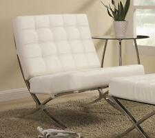 Contemporary White Vinyl Accent Chair with Chrome Base by Coaster 902183