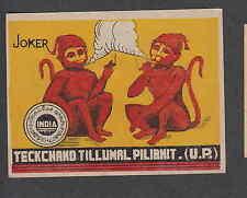 Ancienne étiquette de paquet  Inde  Allumettes  N88 Singe
