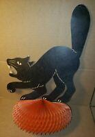 "BLACK CAT CENTERPIECE ON HONEYCOMB H.E. LUHRS 1940S HALLOWEEN VINTAGE 14.5"""