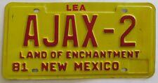 New Mexico 1981 VANITY License Plate AJAX-2