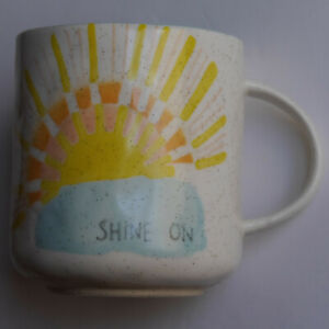 Anthropologie - Shine On sun sunshine large coffee mug yellow blue orange #M1