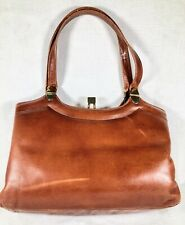 Vtg  Brown Leather Handbag Purse Tote Satchel Hand bag Made in London 50s or 60s