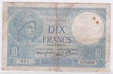 BILLET 10 FRANCS MINERVE UA 17 8 1939 UA 821 S 70969