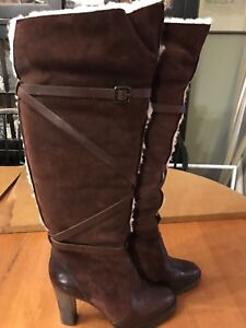 Banana Republic Brown Leather/Suede OTK Shearing High Heel Boots Wms 8.5 M