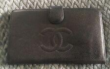 CHANEL Black Leather Caviar Vintage Wallet Clutch Purse-NICE