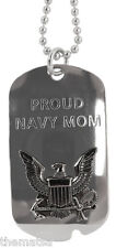 PROUD NAVY MOM WOMANS LADIES  MILITARY ENGRAVABLE DOG TAG WITH CHAIN