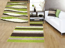 LARGE CHOCOLATE BROWN LIME GREEN BEIGE STRIPED RUG SALE