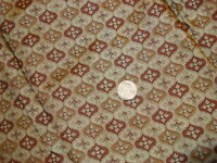 Vintage Silk Fabric BROWN FLORAL MEDALLION/GREEN 6 Yds