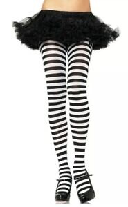 Leg Avenue Nylon Striped Tights Stockings Black and White One Size Halloween