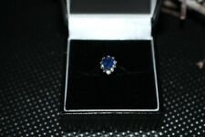 0.86 ct Sapphire and Diamond Engandment Ring in 18ct White Gold UK Seller