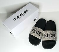 True Religion Meyer Bling Silver Black Slides Slippers NWT womens size 7,8,9,10