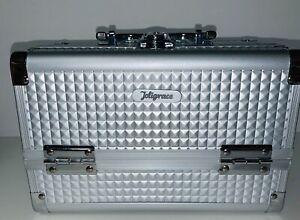 JOLIGRACE Makeup Box Cosmetic Train Case Jewelry Lockable Organizer (SILVER)