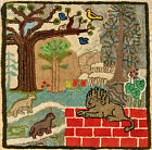 """Antique Vintage American Hand Made Hooked Rug Lion Dogs  Park 30"""" x 30"""""""