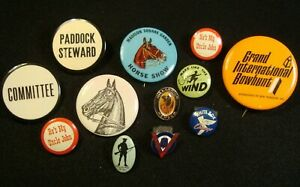12 misc vintage pins - Minutemen '32, BELL System, Armour, more ..