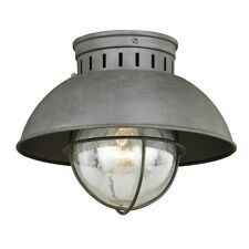 Vaxcel Harwich 1 Light Outdoor Ceiling, Textured Gray/Clear Seeded Glass - T0264