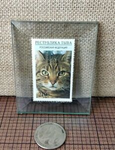 RUSSIA Stamp of Cat - In Glass - Great display piece -
