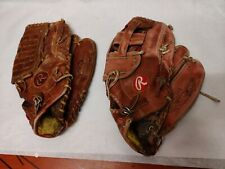 Lot Rawlings Premium H 2500 & Sg76 Right Hand Throw Outfielder Gloves Fastback