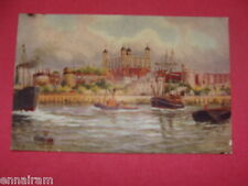 Tower of London Viewed from Thames River vintage unused color postcard