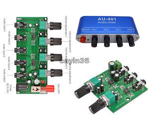 Stereo Audio Signal Mixer Board Mix 2way 4way Input 1way Output DC 5V-12V