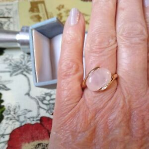 New age, hippy,  Natural Rose Quartz GoldTone Ring, Size s 1/2  New with tags