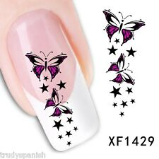 Nail Art Water Decals Transfers Pink Butterfly Stars UV Tips Decoration (1429)