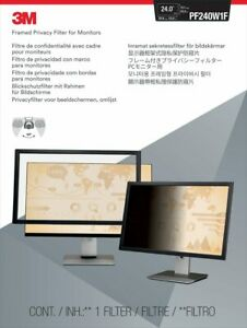 """3M 98044049124 FRAMED PRIVACY FILTER FOR 24"""" WIDESCREEN MONITOR (16:10) PF240W1F"""