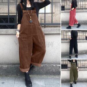 NEW Women Fashion Vintage Corduroy Dungaree Ladies Romper Overalls Jumpsuit Plus
